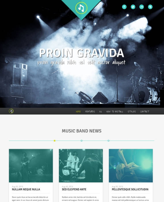 Шаблон HOT Music Band для музыкального портала на Joomla