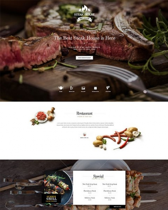 GK SteakHouse – шаблон адаптивного типа для сайта истинных гурманов на Joomla