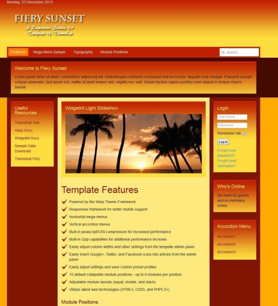Яркий туристический шаблон для Joomla - Fiery Sunset