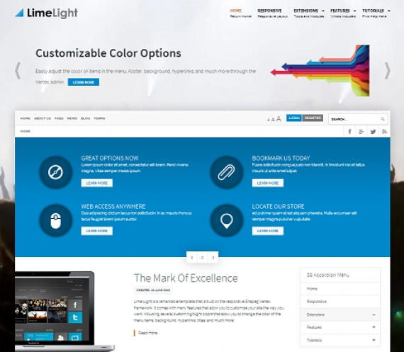 Шаблон Lime Light для Joomla 2.5/3.0