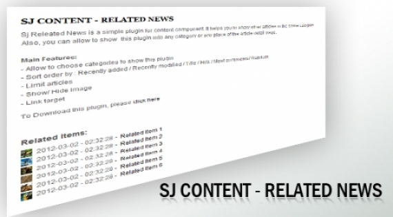 Плагин Sj Content Related News для Joomla 2.5/3.0